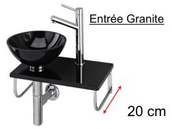 Granite washbasin with round granite counter top on granite shelf, stainless steel support, width 25 cm - ENTREE GRANITE Benesan