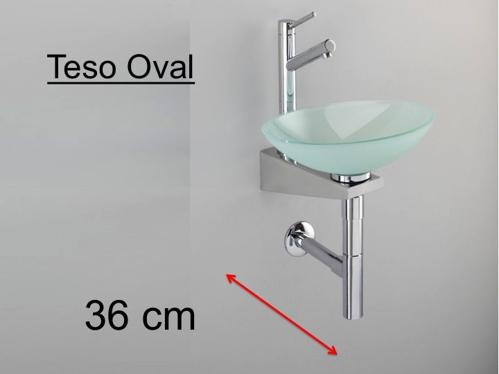Hand Basin On Stainless Steel Support, Oval Glass Bowl   TESO RONDO Benesan