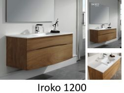 Iroko solid wood bathroom cabinet with a 120 cm bowl - IROKO 1200