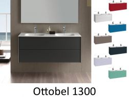 Hanging bathroom cabinet, two 130 cm drawers, with double washbasins - OTTOBEL 1300