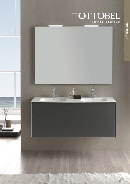 Hanging Bathroom Cabinet, Two 130 Cm Drawers, With Double Washbasins    OTTOBEL 1300