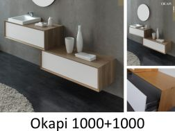 Bathroom cabinet 100 cm, two staggered elements in solid oak - OKAPI 1000