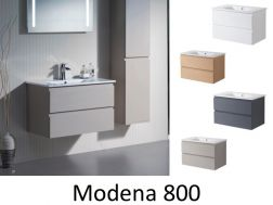 Hanging bathroom cabinet with 80 cm ceramic bowl - MODENA 800