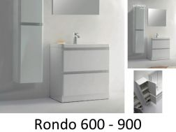 Bathroom cabinet in 60 or 90 cm, shiny white, floor standing - RONDO 600/900