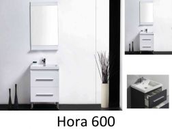 Bathroom cabinet on legs, 60 cm, White or gray lacquered - HORA 600