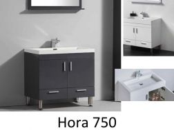 Bathroom cabinet on legs, 75 cm, White or gray lacquered - HORA 750