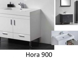 Bathroom cabinet on legs, 90 cm, White or gray lacquered - HORA 900