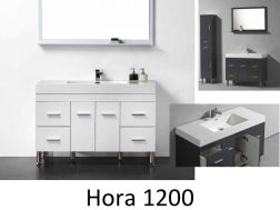 Vanity unit, on legs, with a basin of 120 cm, White or gray lacquered - HORA 1200