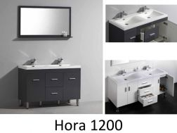 Vanity unit on legs, with double basin of 120 cm, White or gray brllant - HORA 1200