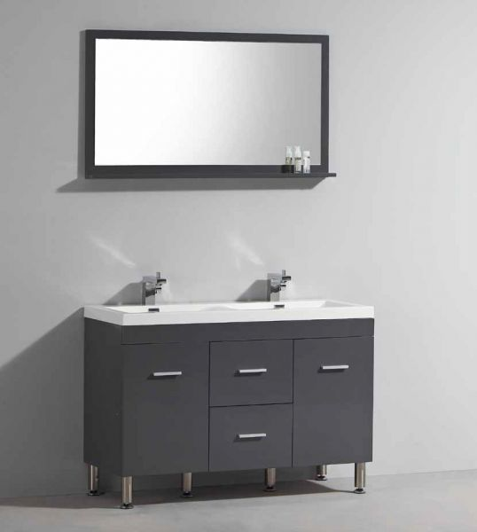 vanity unit on legs with double basin of 120 cm white or. Black Bedroom Furniture Sets. Home Design Ideas