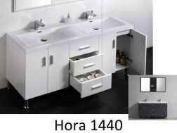 Bathroom cabinet, on legs, with 144 cm double basin, White or gray lacquered - HORA 1440