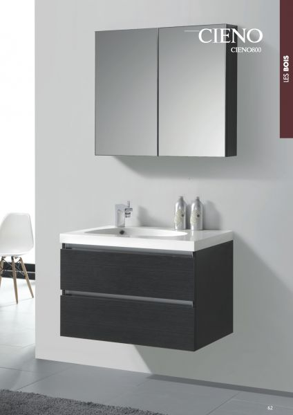 mirror effect furniture. 80 Cm Hanging Bathroom Cabinet, Mirror Gray Wood Effect - CIENO 800 Furniture G
