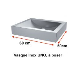 Stainless steel sink UNO, placed on table, 600 x 500 mm - Delabie