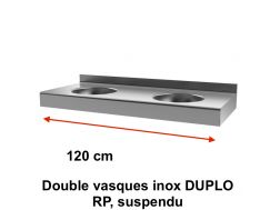 Double stainless steel sinks DUPLO RP suspended - Delabie