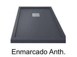 Shower tray 170 cm, resin, ENMARCADO anthracite color