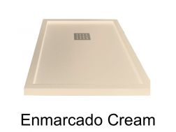 Shower tray 170 cm, resin, ENMARCADO cream color