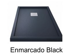 Shower tray 170 cm, resin, ENMARCADO black color