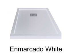 Shower tray 190 cm, resin, ENMARCADO white color