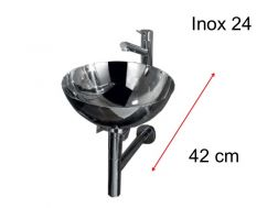 Washing hands stainless steel basin 24 cm stainless steel support, Inox 24