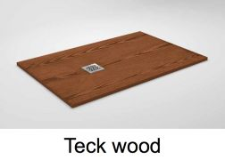 Shower tray 100 cm in resin, small size and big size, extra thin, teak wood effect