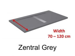 Shower tray 120 cm, resin, desing central siphon, extra- flat, stone effect, grey  color