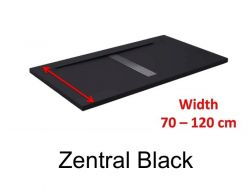 Shower tray 120 cm, resin, desing central siphon, extra- flat, stone effect, black  color