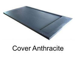 Shower tray 120 cm resin, effekt stone Cover, with resin cache  anthracite