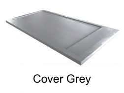 Shower tray 120 cm resin, effekt stone Cover, with resin cache  grey
