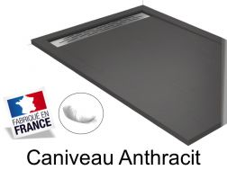 Shower tray , 140 cm Resin, Caniveau Anthracite color