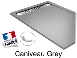 Shower tray , 130 cm Resin, Caniveau grey color