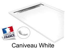 Shower tray , 140 cm Resin, Caniveau white color