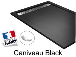 Shower tray , 140 cm Resin, Caniveau Black color