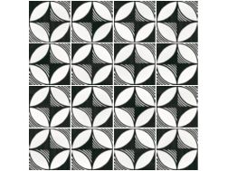 Art Deco 4 B&W 20x20, Imitation tile cement tiles, Tiles