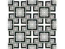 Art Deco 6 B&W 20x20 - Tile, imitation cement tiles, porcelain.