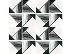 Art Deco 9 B&W20x20, Imitation tile cement tiles, Tiles