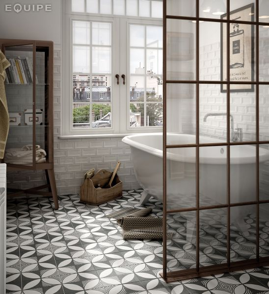 Floor And Wall Tiling Aspect Cx Ciment Art Deco BW X - Salle de bain art deco