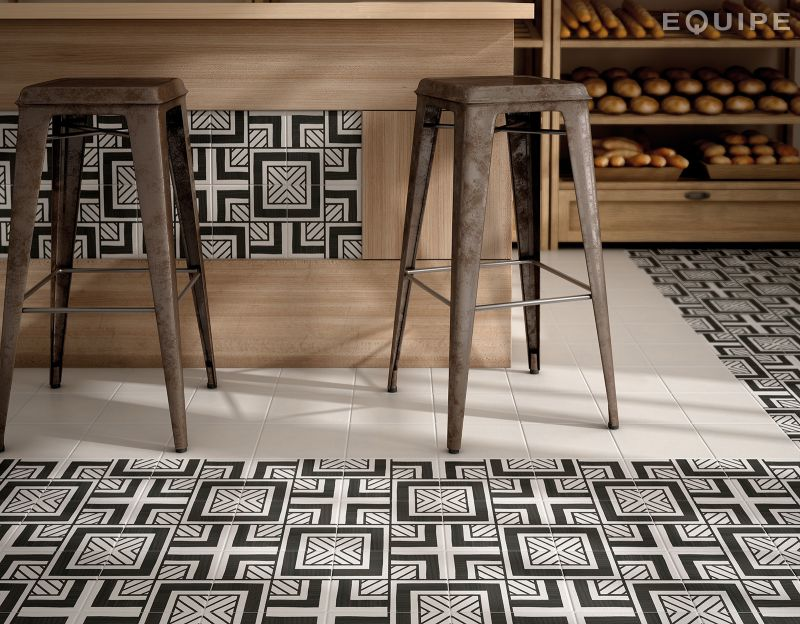 Populaire Floor and wall tiling. Aspect Cx. Ciment - Art Deco 6 B&W 20x20  KC91