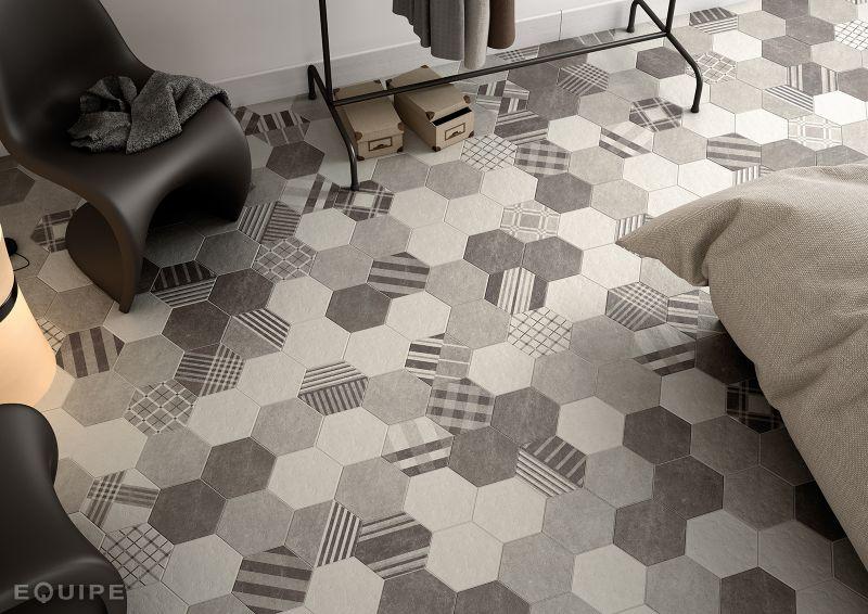 Floor And Wall Tiling Sol Hexagonal Cement Black Mate X - Carrelage hexagonal sol