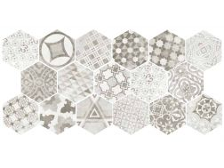 Art Deco 1 Hexagonal Cement Garden Grey 17,5x20  - Floor tile hexagonal, imitation cement tiles, Porcelain.