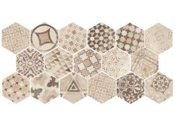 Art Deco 3 Hexagonal Cement Garden Sand Mate 17,5x20  - Floor tile hexagonal, imitation cement tiles, Porcelain.