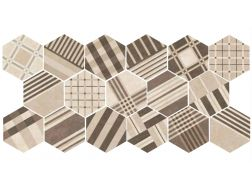 Art Deco 4 Hexagonal Cement GEO Sand 17,5x20  - Floor tile hexagonal, imitation cement tiles, Porcelain.