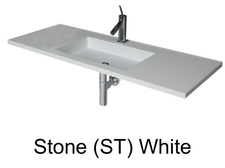 wash basins width 100 cm resin stone white - 100 Cm Plan Vasque