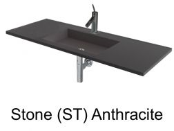 Wash Basins width 200 cm resin Stone Anthracite