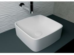Washbasin 40x40 cm resin Solid Surface, White Delios.