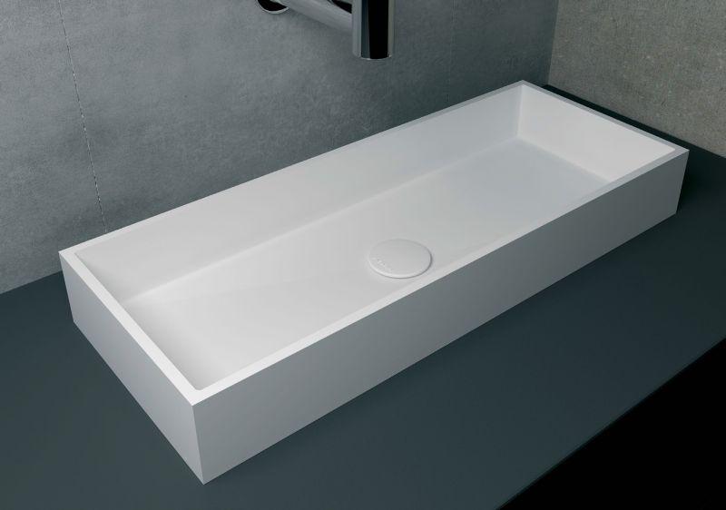 washbasin 30x75 cm resin solid surface white rodas - Grande Vasque A Poser