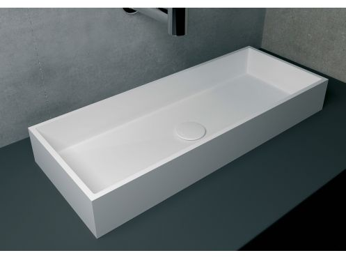 Countertop washbasin 30 x 75 cm, in Solid Surface resin - BALI