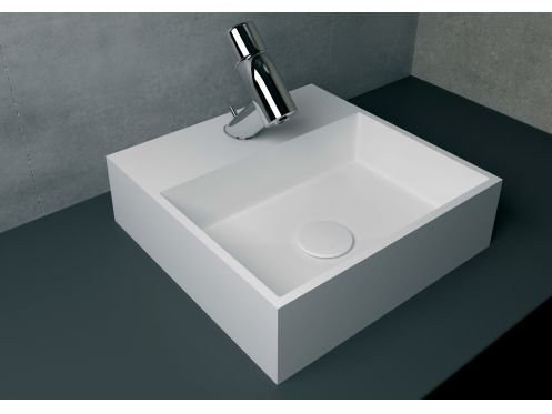 Washbasin 40x40 cm resin Solid Surface, White EGEO.