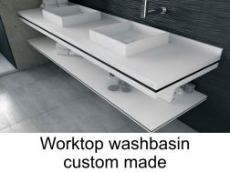 Solid surface able to work plan for bathroom washbasin, smooth white Puzzle