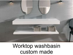 Solid surface able to work plan for bathroom washbasin, smooth white Puzzle E-I