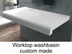 Solid surface able to work plan for bathroom washbasin, smooth white Puzzle C